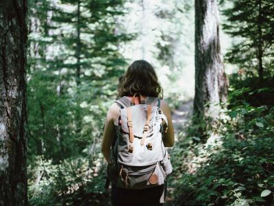 Women Hiking Through the Woods